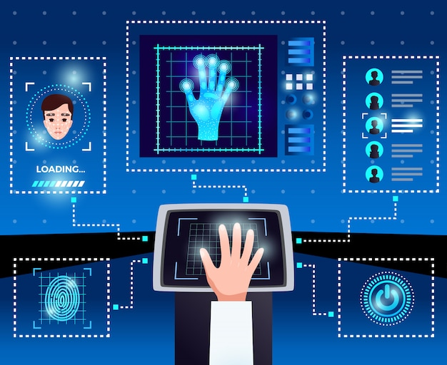 Identification computer technologies schema with integrated touchscreen interface for secure authorized user access blue background Free Vector