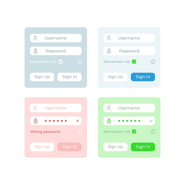 Identification ui elements kit Premium Vector