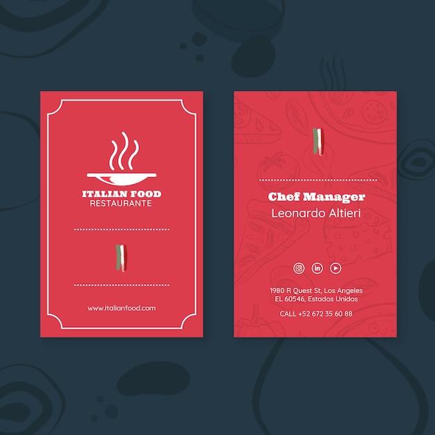 Modello di carta d'identità per lavoratore ristorante italiano Vettore gratuito