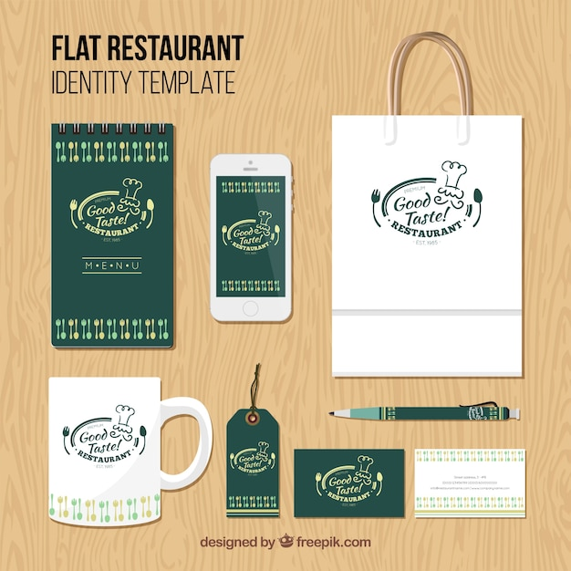 Identity corporate for green restaurant Free Vector