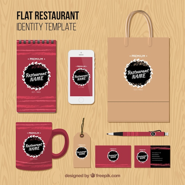 Identity corporate for red restaurant