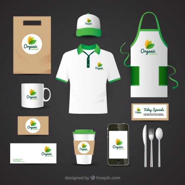 Identity corporate for organic food restaurant Free Vector