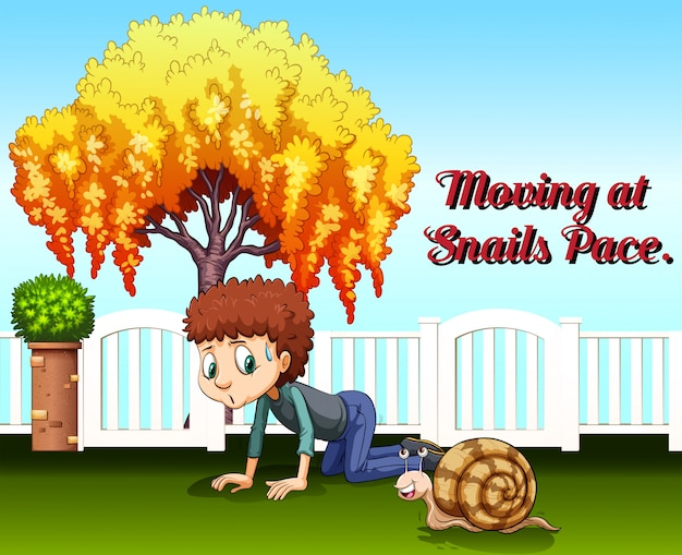 Idiom expression for moving at snails pace Free Vector