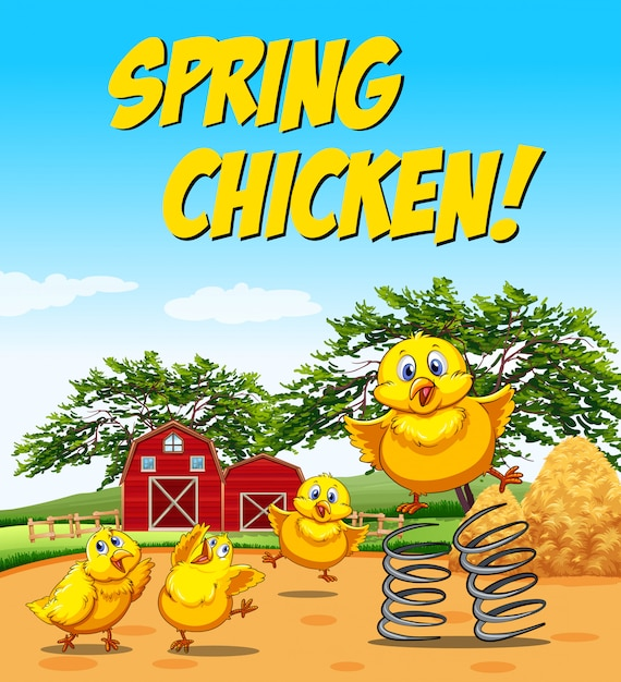 Idiom poster for spring chicken Free Vector