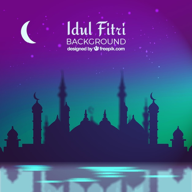 Idul fitri background with mosque Free Vector
