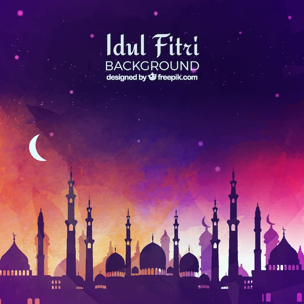 Idul Fitri Background With Mosque Vector