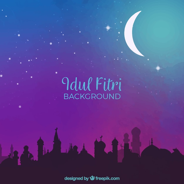 Idul Fitri Background With Mosque