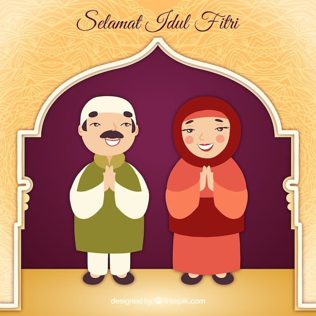 Idul fitri background with muslim couple Free Vector