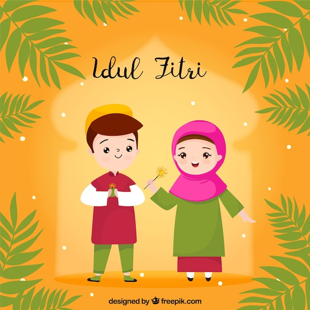 Idul Fitri Background With People Celebrating Vector