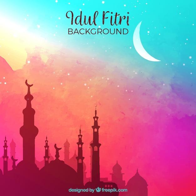 Idul fitri с мечетью Бесплатные векторы