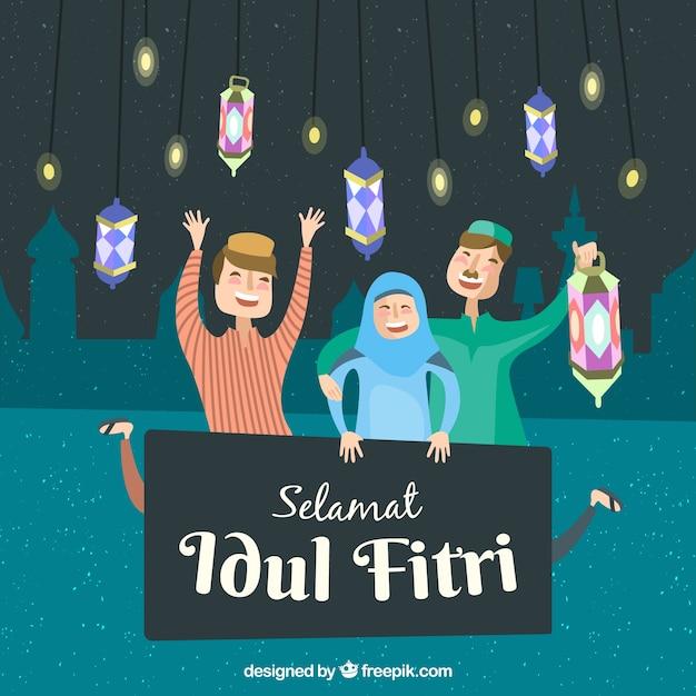 人々を祝うidul fitriの背景 無料ベクター