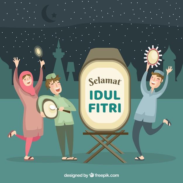 Idul fitri фон с людьми, празднующими Бесплатные векторы