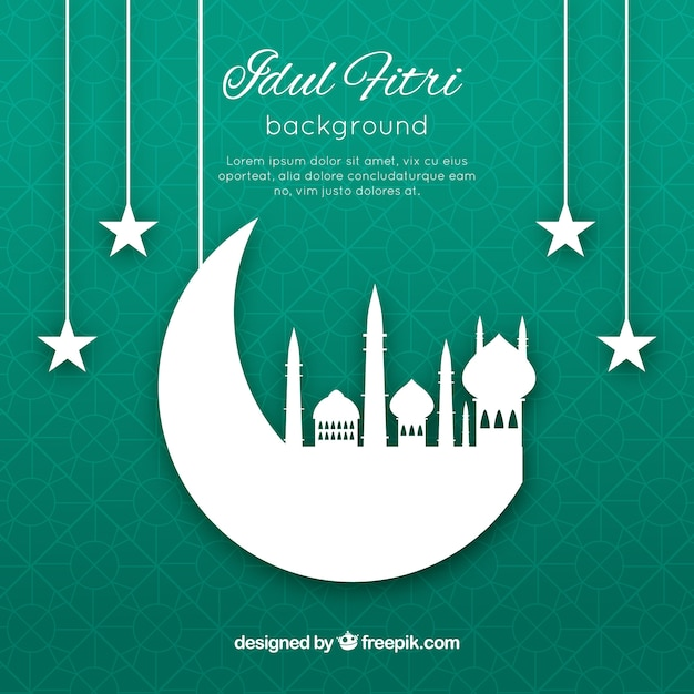 Idul friti background with mosque silhouette Free Vector