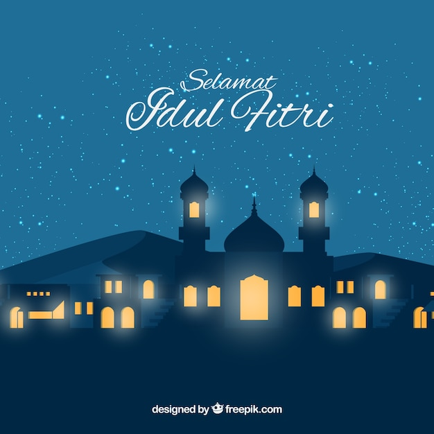 Idul friti background with mosque Free Vector