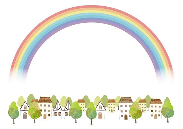 Идиллический акварельный городской пейзаж с радугой, изолированных на белом фоне. векторные иллюстрации с пространством для текста. Бесплатные векторы