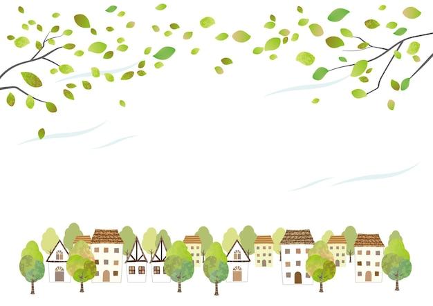 Идиллический акварельный городской пейзаж с молодыми листьями, изолированных на белом фоне. векторные иллюстрации с пространством для текста. Бесплатные векторы