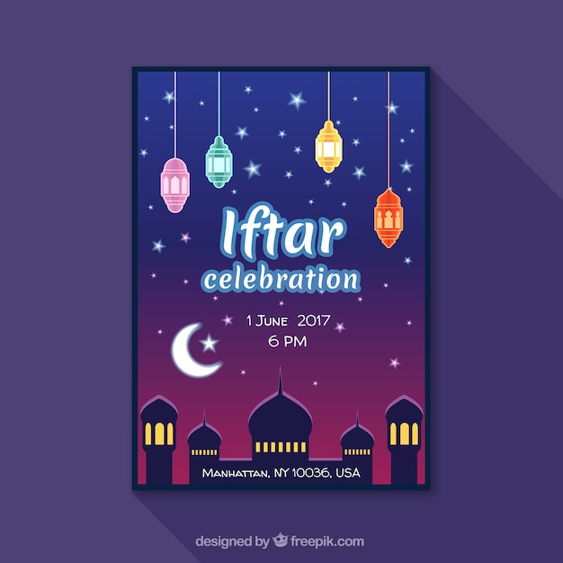 Iftar celebration invitation vector free download iftar celebration invitation free vector stopboris Images