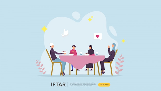 Iftar eating after fasting feast party banner Premium Vector