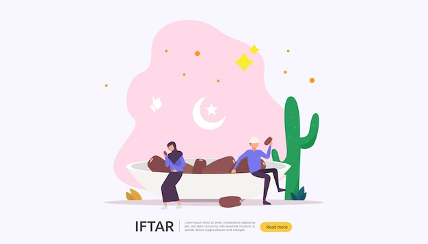 Iftar eating after fasting feast party concept Premium Vector