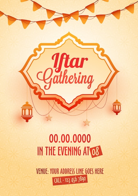 Iftar gathering invitation card design with hanging lanterns iftar gathering invitation card design with hanging lanterns bunting flags premium vector stopboris