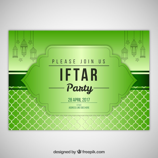 Iftar green invitation vector free download iftar green invitation free vector stopboris Images