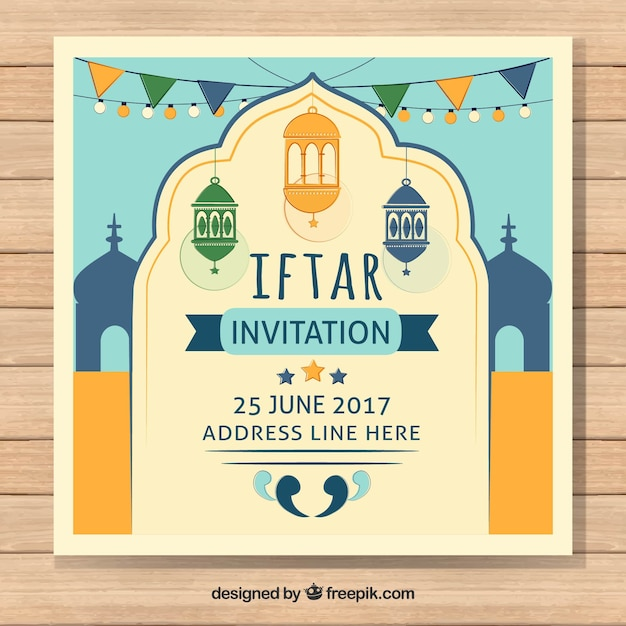 Iftar invitation in vintage style vector free download iftar invitation in vintage style free vector stopboris Image collections