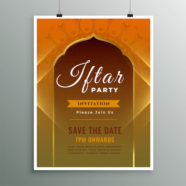 Iftar invitation template in islamic design style Free Vector