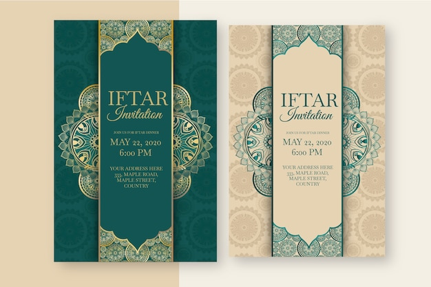 Iftar invitation template theme of event Free Vector