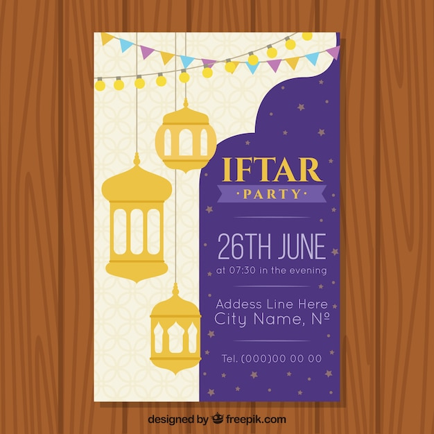 Iftar invitation with arabic lamps and ornaments vector free iftar invitation with arabic lamps and ornaments free vector stopboris Images