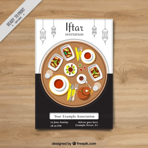 iftar invitation with delicious food vector