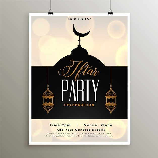 Iftar party celebration template for ramadan season Free Vector