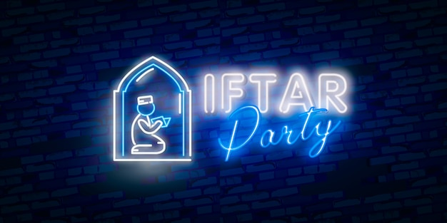 Iftar party festive in modern neon style, muslim holiday of holy month ramadan karim. Premium Vector