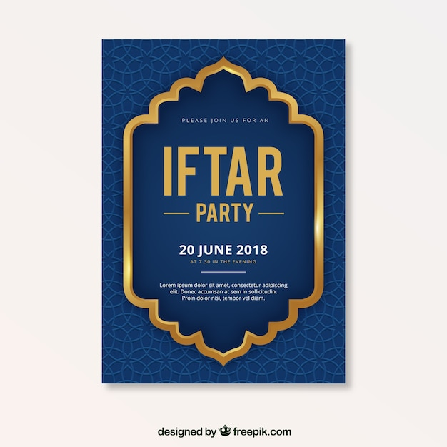 Iftar party flyer with pattern Free Vector