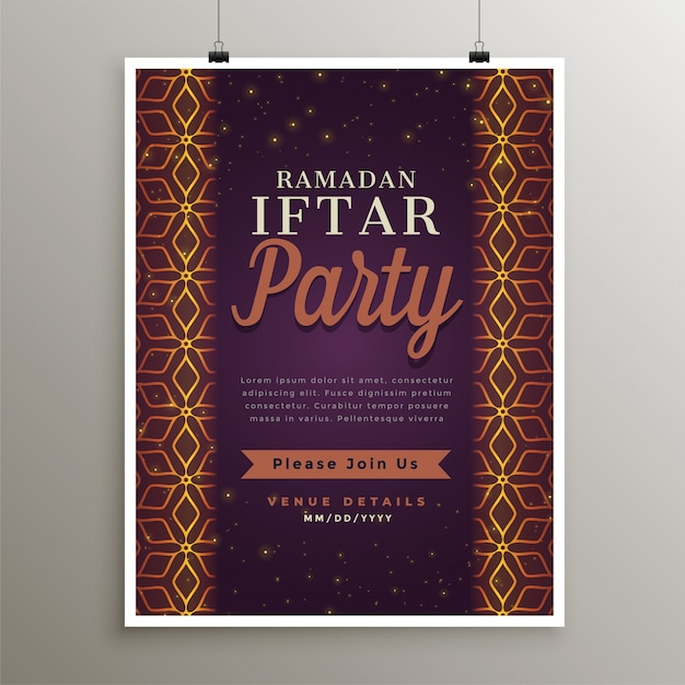 Iftar party food invitation template design Free Vector
