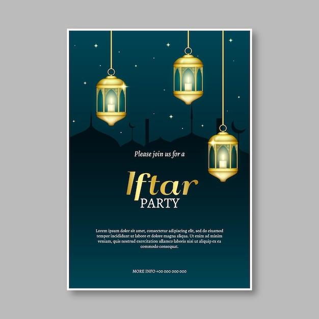 Приглашение на вечеринку ифтар реалистичный дизайн Бесплатные векторы