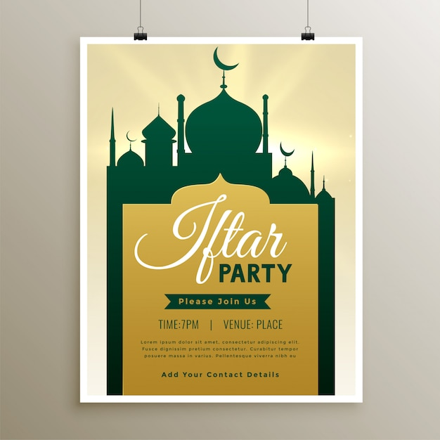 Iftar party invitation template with mosque design Free Vector