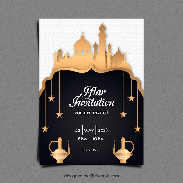 Iftar Party Invitation With Mosque In Golden Style Vector