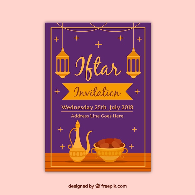 Iftar party invitation with tea elements Free Vector