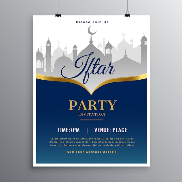 Iftar party poster design Free Vector