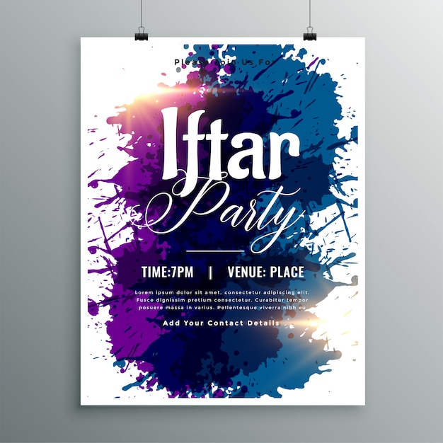 Iftar party watercolor ink invitation template Free Vector