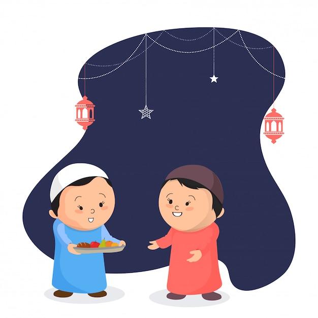 Симпатичный маленький ребенок, предлагающий фрукты своему другу, концепция партии iftar. дети традиционно Premium векторы