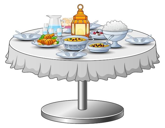 Iftarパーティーのおいしいメニューがテーブルにあります Premiumベクター