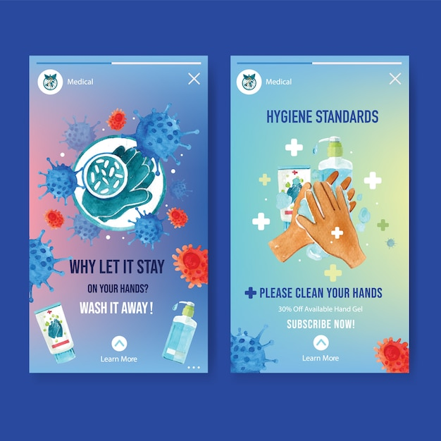 Ig stories ad with watercolor style of hygiene on quarantine time Free Vector
