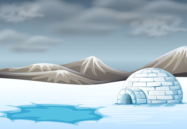Igloo in cold terrain Free Vector