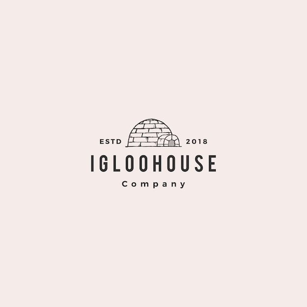 Igloo house logo hipster retro Premium Vector