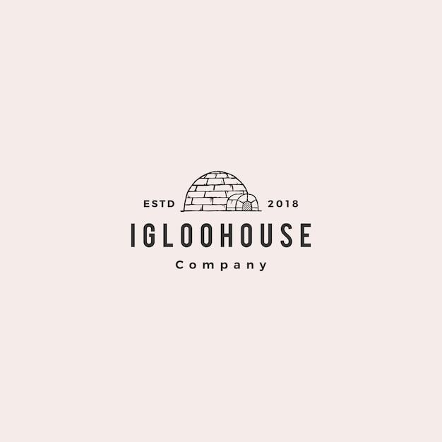 Igloo houseロゴヒップスターレトロ Premiumベクター