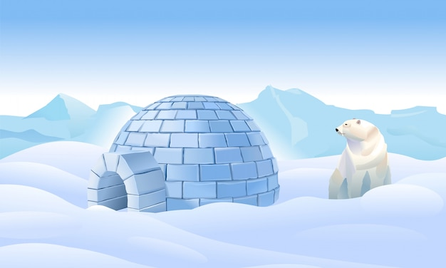 Igloo in the north. housing in the north. bear have an igloo. northern landscape. life in the north in the ice. polar bear have an igloo Premium Vector