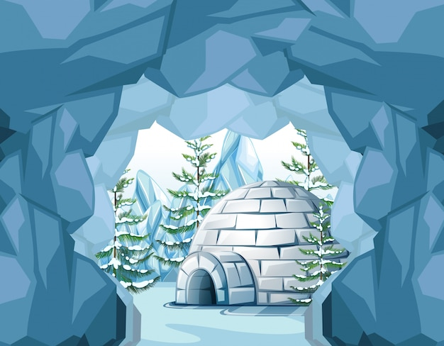 Igloo in the north pole Free Vector