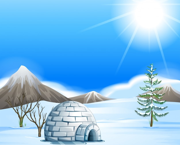 Igloo in the north pole Premium Vector