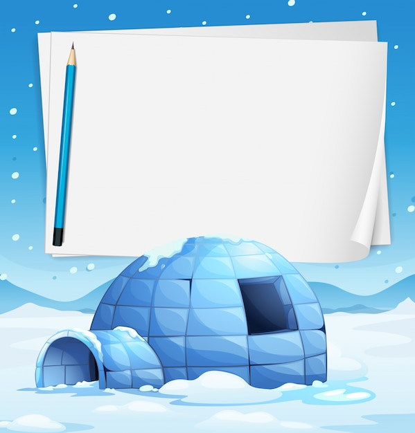 Igloo and papers Free Vector